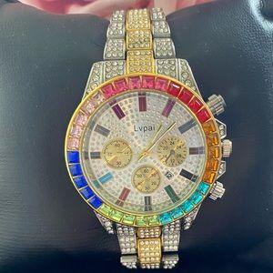 Luxury Watch Men bling Two tone Big Gold silver